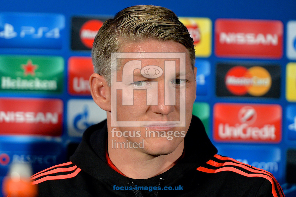 Bastian Schweinsteiger of Manchester United during a press conference ahead of Manchester United's match against VfL Wolfsburg in the UEFA Champions League at Old Trafford, Manchester<br /> Picture by Ian Wadkins/Focus Images Ltd +44 7877 568959<br /> 29/09/2015