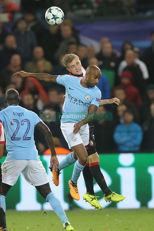 Dylan Vente of Feyenoord, Fernandinho Luiz Roza of Manchester City during the UEFA Champions League group F match between Feyenoord Rotterdam and Manchester City at the Kuip on September 13, 2017 in Rotterdam, The Netherlands