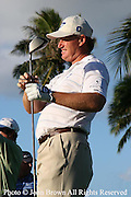 South Africa's Ernie Els looks down the fairway during a practice round prior to The 2005 Sony Open In Hawaii. The event was held at The Waialae Country Club in Honolulu.