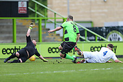 Forest Green Legends arc McGregor shoots at goal scores a goal 3-2 during the Trevor Horsley Memorial Match held at the New Lawn, Forest Green, United Kingdom on 19 May 2019.