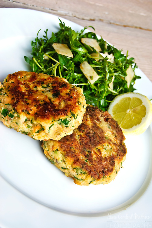 Hearty fishcakes and salad