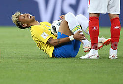 ROSTOV-ON-DON, June 17, 2018  Neymar of Brazil sustains injury during a group E match between Brazil and Switzerland at the 2018 FIFA World Cup in Rostov-on-Don, Russia, June 17, 2018. (Credit Image: © Li Ming/Xinhua via ZUMA Wire)