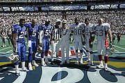 Admiral Fargo poses at the coin toss at the 2003 Pro Bowl, the NFL All-Star Game at Aloha Stadium in Hawaii on 02/02/2003. The  AFC intercepted 6 passes to defeat the NFC for the third year in a row, this time by a score of 45 to 20. ©Paul Anthony Spinelli