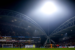 Huddersfield Town and Fulham take part in a minutes silence in respect of Leicester City Chairman Vichai Srivaddhanaprabha who passed away in a helicopter crash - Mandatory by-line: Robbie Stephenson/JMP - 05/11/2018 - FOOTBALL - John Smith's Stadium - Huddersfield, England - Huddersfield Town v Fulham - Premier League