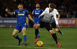 Gwion Edwards of Peterborough United in action with Barry Fuller of AFC Wimbledon - Mandatory by-line: Joe Dent/JMP - 12/11/2017 - FOOTBALL - Cherry Red Records Stadium - Kingston upon Thames, England - AFC Wimbledon v Peterborough United - Sky Bet League One