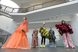 Pictured: designs by students (left to right): Franz Maggs, Nour Daher, Juexin. Zhang, Qianyu Zhu and Rongqing Wang.<br /> <br /> Students studying fashion design at Glasgow School of Art previewed their work before their annual degree show.<br /> <br /> © Dave Johnston / EEm