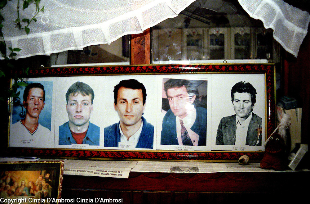Kosoli family, missing brothers ( from left, Kastriot, Kriste, Simon,Gjerg,Filip). One night the Serbian military invaded many homes in the Meje village. All the men were taken away and since then are missing. Their bodies have never been found.