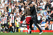 Liverpool forward Sadio Mane (10) gets congratulations from Liverpool Manager Jurgen Klopp during the Premier League match between Liverpool and Newcastle United at Anfield, Liverpool, England on 14 September 2019.