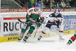 20.02.2015, Curt-Frenzel-Stadion, Augsburg, GER, DEL, Augsburger Panther vs EHC Red Bull München, 49. Runde, im Bild l-r: im Zweikampf, Aktion, mit Greg Moore #26 (Augsburger Panther) und Daryl Boyle #6 (EHC Red Bull Muenchen) // during Germans DEL Icehockey League 49th round match between Adler Mannheim and Grizzly Adams Wolfsburg at the Curt-Frenzel-Stadion in Augsburg, Germany on 2015/02/20. EXPA Pictures © 2015, PhotoCredit: EXPA/ Eibner-Pressefoto/ Kolbert<br /> <br /> *****ATTENTION - OUT of GER*****