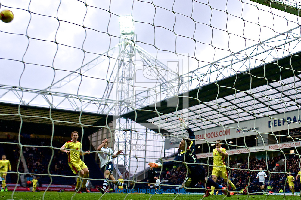 Milton Keynes Dons goalkeeper David Martin makes a save during the Sky Bet League 1 match at Deepdale, Preston<br /> Picture by Ian Wadkins/Focus Images Ltd +44 7877 568959<br /> 13/12/2014