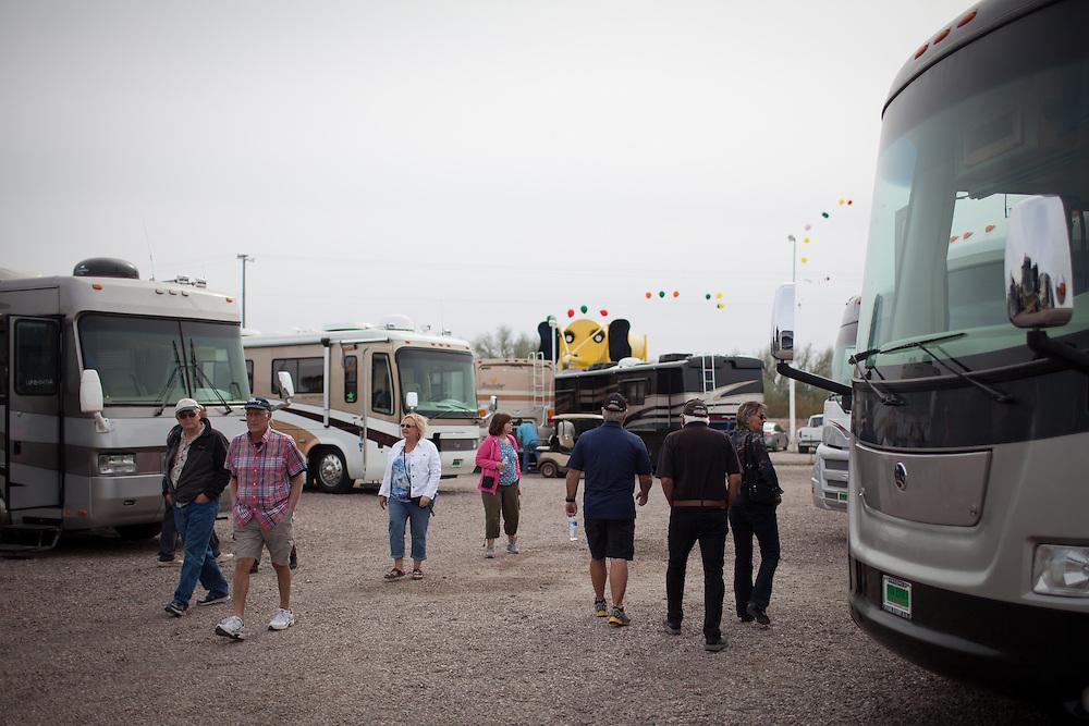Shopping for RVs at the big RV show in Quartzite, Arizona.