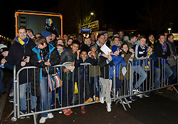Wimbledon fans wait for the Liverpool team coach - Photo mandatory by-line: Dougie Allward/JMP - Mobile: 07966 386802 - 05/01/2015 - SPORT - football - London - Cherry Red Records Stadium - AFC Wimbledon v Liverpool - FA Cup - Third Round