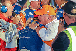 June 9, 2018 - Fort Worth, Texas, U.S - Chip Ganassi Racing driver Scott Dixon (9) of New Zealand celebrates after winning the DXC Technology 600 race at Texas Motor Speedway in Fort Worth,Texas. (Credit Image: © Dan Wozniak via ZUMA Wire)