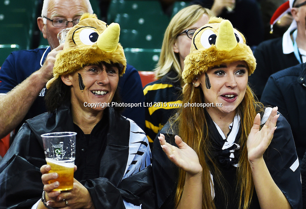 Fans during the New Zealand All Blacks v Georgia Rugby World Cup 2015 match. Millennium Stadium in Cardiff, Wales, UK. Friday 2 October 2015. Copyright Photo: Andrew Cornaga / www.Photosport.nz