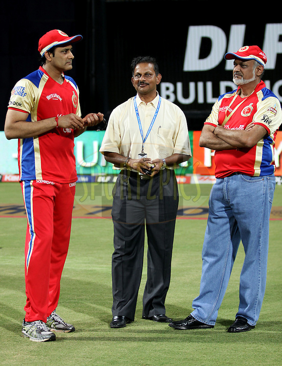 Royal Challengers Banglore player Anil Kumble ,Lal Chand Rajput and Brijesh Patel co owner of Royal Challengers Banglore during the Qualifier 1 match of the Indian Premier League ( IPL ) Season 4 between the Royal Challengers Bangalore and the Chennai Superkings held at the Wankhede Stadium, Mumbai, India on the 24th May 2011..Photo by Sandeep Shetty/BCCI/SPORTZPICS..