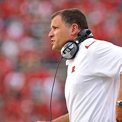 Sep 7, 2009; Piscataway, NJ, USA; Rutgers head coach Greg Schiano looks on as Cincinnati defeats Rutgers 47-15 in NCAA Big East college football at Rutgers Stadium.