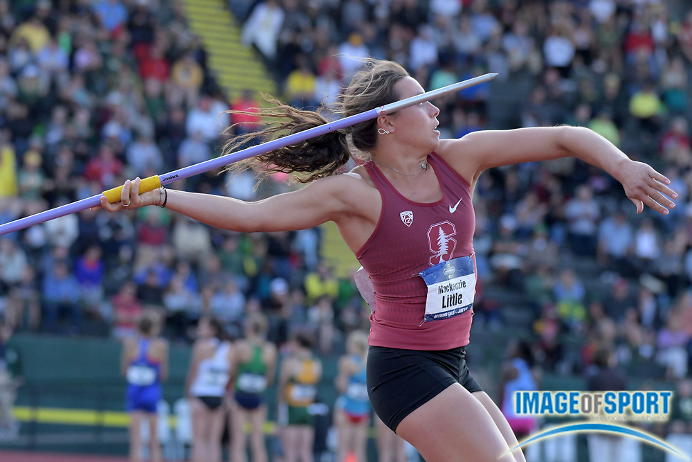 Jun 7, 2018; Eugene, OR, USA; Mackenzie Little of Stanford wins the women's javelin at 198-0 (60.36m) during the NCAA Track and Field championships at Hayward Field.