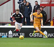 Dundee's Craig Wighton takes on Motherwell's Jack McMillan - Motherwell v Dundee in the Ladbrokes Scottish Premiership at Fir Park, Motherwell.Photo: David Young<br /> <br />  - © David Young - www.davidyoungphoto.co.uk - email: davidyoungphoto@gmail.com