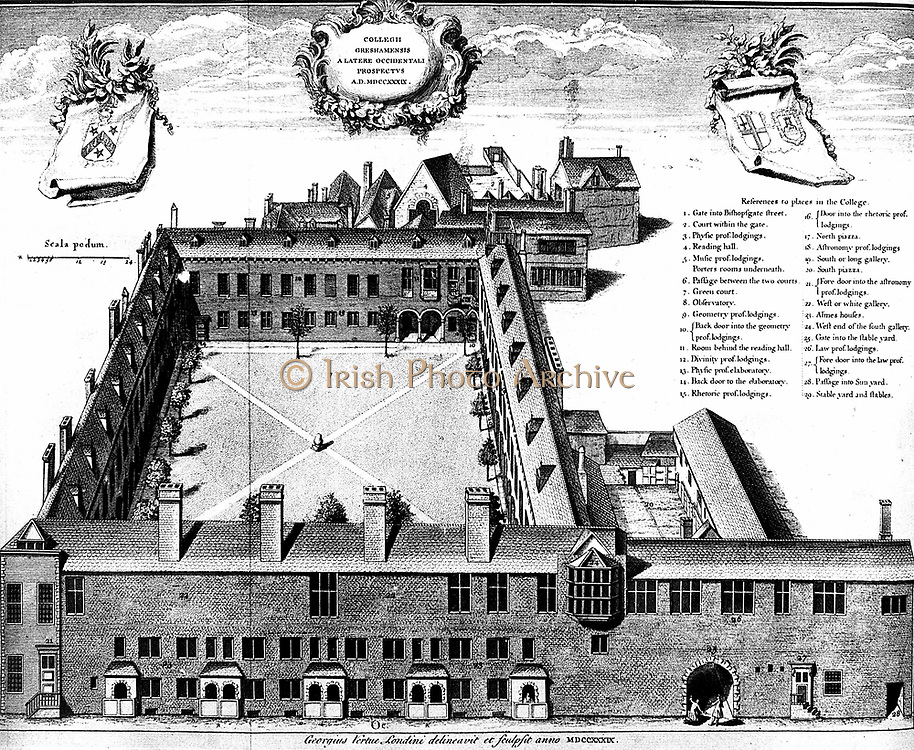 Gresham College London, 1739 engraving by George Vertue (1684-1765) From John Ward 'Lives of the Professors of Gresham College'. Although its true origins are somewhat earlier, the Royal Society was formally constituted at Gresham College on 28 November 1660, its meeting place until 1710. Robert Hooke (1635-1703) became professor of physics here in 1665.