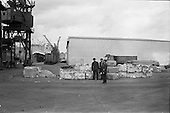 1963 - Bales of wood-pulp at Ocean Pier, Dublin