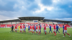 WREXHAM, WALES - Thursday, November 10, 2016: Teams take to the pitch for Wales against Greece during the UEFA European Under-19 Championship Qualifying Round Group 6 match at the Racecourse Ground. (Pic by Gavin Trafford/Propaganda)