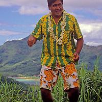 French Polynesia, Tahiti, Taha'a. Polynesian performer.