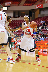 25 November 2007: Tiffany Hudson protects the ball. The DePaul Blue Demons defeated the Illinois State Redbirds 80-75 on Doug Collins Court at Redbird Arena in Normal Illinois