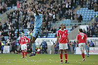 Photo: Lee Earle.<br /> Coventry City v Barnsley. Coca Cola Championship. 17/03/2007.Coventry's Dele Adebola (L) jumps for joy after scoring their third.