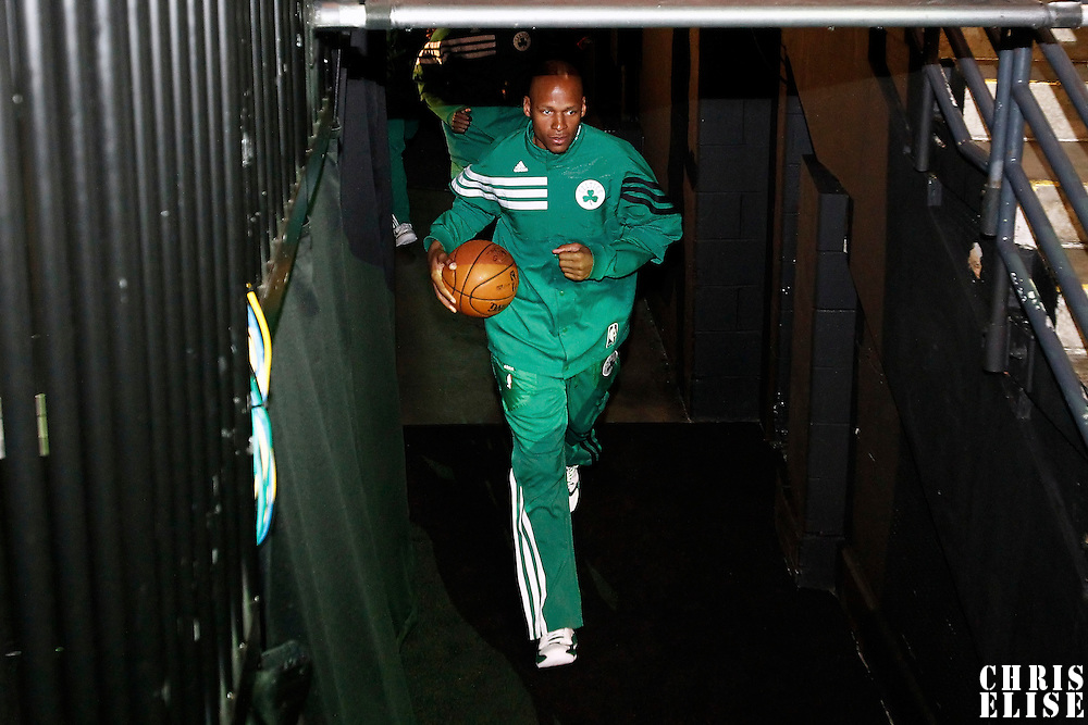 26 May 2012:  Boston Celtics shooting guard Ray Allen (20) runs to the court prior to the Boston Celtics 85-75 victory over the Philadelphia Sixer, in Game 7 of the Eastern Conference semifinals playoff series, at the TD Banknorth Garden, Boston, Massachusetts, USA.