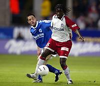 Fotball<br /> Frankrike 2003/04<br /> Strasbourg v Paris St. Germain<br /> 1. mai 2004<br /> Foto: Digitalsport<br /> NORWAY ONLY<br /> <br /> BERNARD MENDY (PSG) / GUILLAUME LACOUR (STR)
