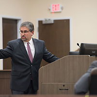 Defense attorney Robert Don Lohbeck points at his client Deborah Green as he address the jury with opening statements. Day 1 of the Green Case began Tuesday afternoon at the 13th Judicial District Courthouse in Grants Tuesday afternoon.