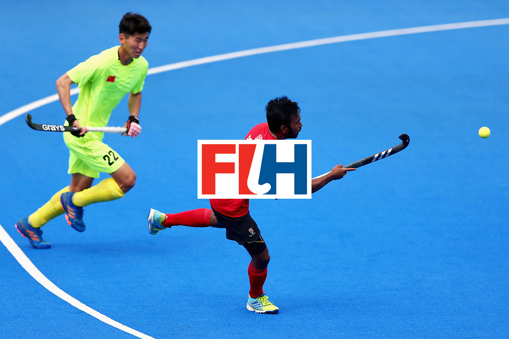 LONDON, ENGLAND - JUNE 24:  Keegan Pereira of Canada scores his sides fifth goal during the 5th-8th place match between Canada and China on day eight of the Hero Hockey World League Semi-Final at Lee Valley Hockey and Tennis Centre on June 24, 2017 in London, England.  (Photo by Steve Bardens/Getty Images)