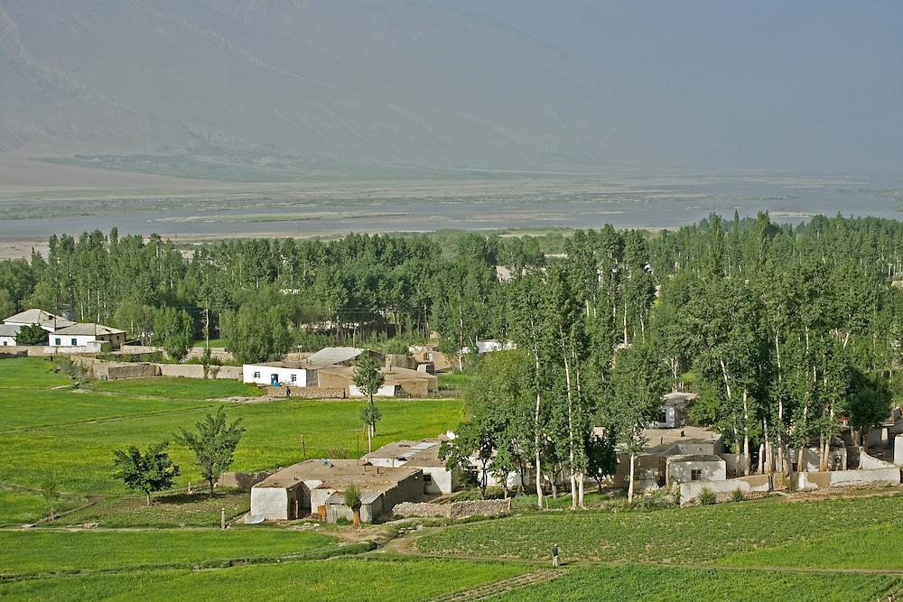 Tajik village on the banks of Pyanj (Amu Darya) river, shared with Afghanistan