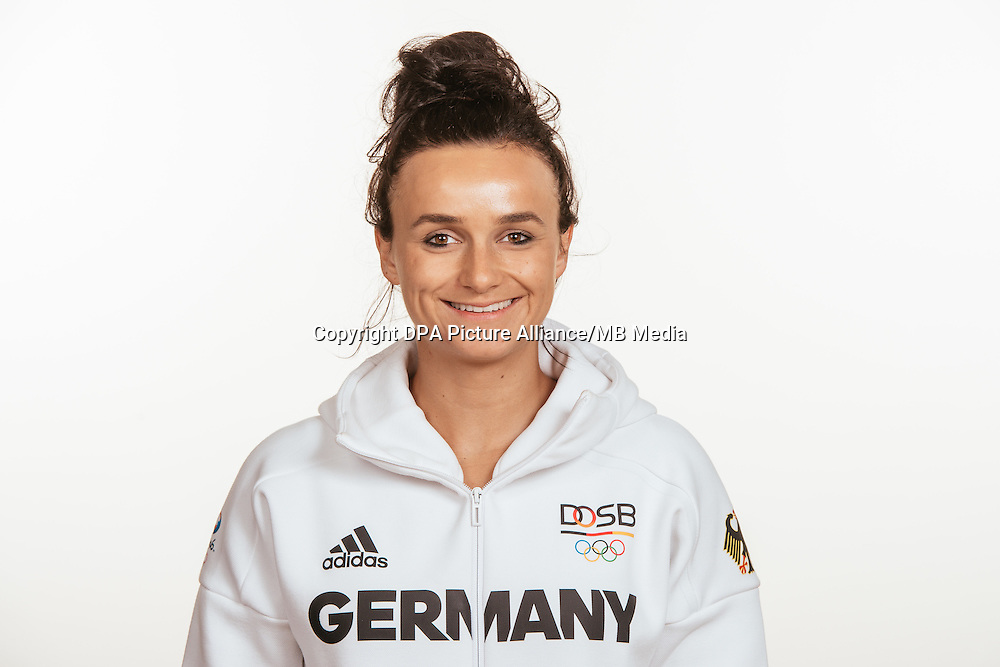 Lina Magull poses at a photocall during the preparations for the Olympic Games in Rio at the Emmich Cambrai Barracks in Hanover, Germany, taken on 15/07/16   usage worldwide