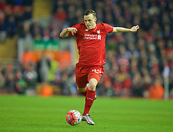 LIVERPOOL, ENGLAND - Wednesday, January 20, 2016: Liverpool's Brad Smith in action against Exeter City during the FA Cup 3rd Round Replay match at Anfield. (Pic by David Rawcliffe/Propaganda)