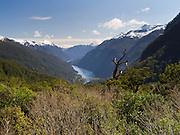 View looking west over Doubtful Sound from Wilmot Pass, Fiordland National Park, New Zealand; 22 Sept 2012