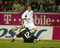 TEPLICE, CZECH REPUBLIC - Wednesday, April 30, 2003: Czech Republic's Vladimir Smicer sees his shot saved by Turkey goalkeeper Omer Catkic during a friendly match at the Teplice Stadion Na Stinadlech. (Pic by David Rawcliffe/Propaganda)