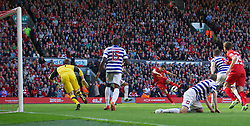 LIVERPOOL, ENGLAND - Sunday, May 19, 2013: Liverpool's Stewart Downing in action against Queens Park Rangers during the final Premiership match of the 2012/13 season at Anfield. (Pic by David Rawcliffe/Propaganda)