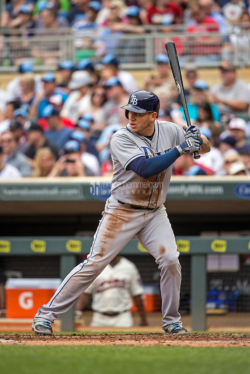 MINNEAPOLIS, MN- MAY 16: Asdrubal Cabrera #13 of the Tampa Bay Rays bats against the Minnesota Twins on May 16, 2015 at Target Field in Minneapolis, Minnesota. The Twins defeated the Rays 6-4. (Photo by Brace Hemmelgarn) *** Local Caption *** Asdrubal Cabrera