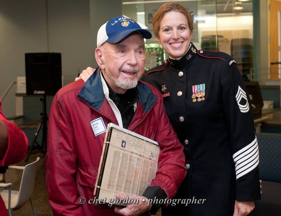 """Hudson Valley Honor Flight """"Meet and Greet"""" at Westchester Community College in Valhalla, NY on Sunday, October 5, 2014. Nearly one hundred WWII Veterans and their escorts will be onboard the Hudson Valley Honor Flight's inaugural flight from Westchester County Airport to Washington, DC on October 18th.  © www.chetgordon.com"""