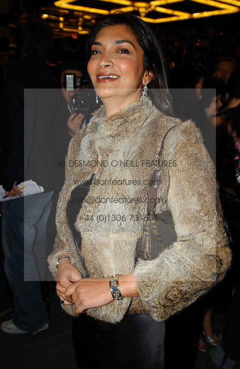 FARIA ALAM former close friend of England manager Sven Goran Erikson at the opening night of the musical Murderous Instincts at The Savoy Theatre, London on 7th October 2004.<br />