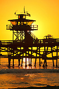 Lifeguard Tower On The San Clemente Pier At Sunset