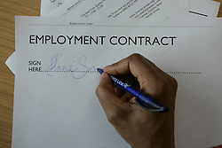 Signing employment contract