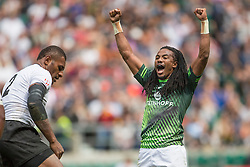 May 21, 2016 - London, Britain - Cecil Africa  (South Africa) celebrates during the HSBC London Sevens rugby tournament match  South Africa vs Fiji   in London, Great Britain, 21 May 2016. Photo: Juergen Kessler/dpa - NO WIRE SERVICE  (Credit Image: © JüRgen KeßLer/DPA via ZUMA Press)