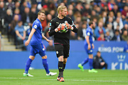 Leicester City goalkeeper Kasper Schmeichel (1) during the Premier League match between Leicester City and Stoke City at the King Power Stadium, Leicester, England on 1 April 2017. Photo by Jon Hobley.