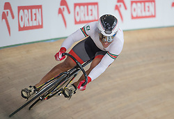 March 2, 2019 - Pruszkow, Poland - Jair Tjon En Fa (SUR) competes in the Men's sprint qualifying race on day four of the UCI Track Cycling World Championships held in the BGZ BNP Paribas Velodrome Arena on March 02 2019 in Pruszkow, Poland. (Credit Image: © Foto Olimpik/NurPhoto via ZUMA Press)