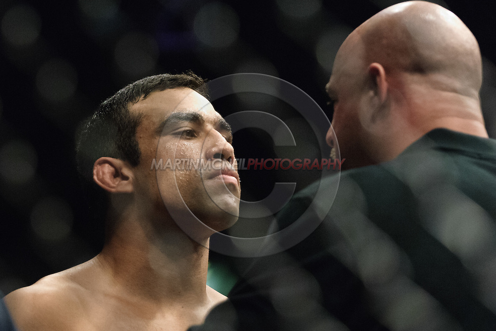 "NEWCASTLE, ENGLAND, UNITED KINGDOM, JANUARY 19 2008: Fabricio Werdum (left) listens to instructions from referee Dan Miragliotta before his fight at ""UFC 80: Rapid Fire"" inside the Metro Radio Arena in Newcastle, England on January 19, 2008."