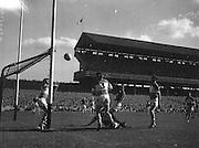 Ball flies towards goal during the Down v Offaly All Ireland Senior Gaelic Football Final in Croke Park on 24th September 1961.