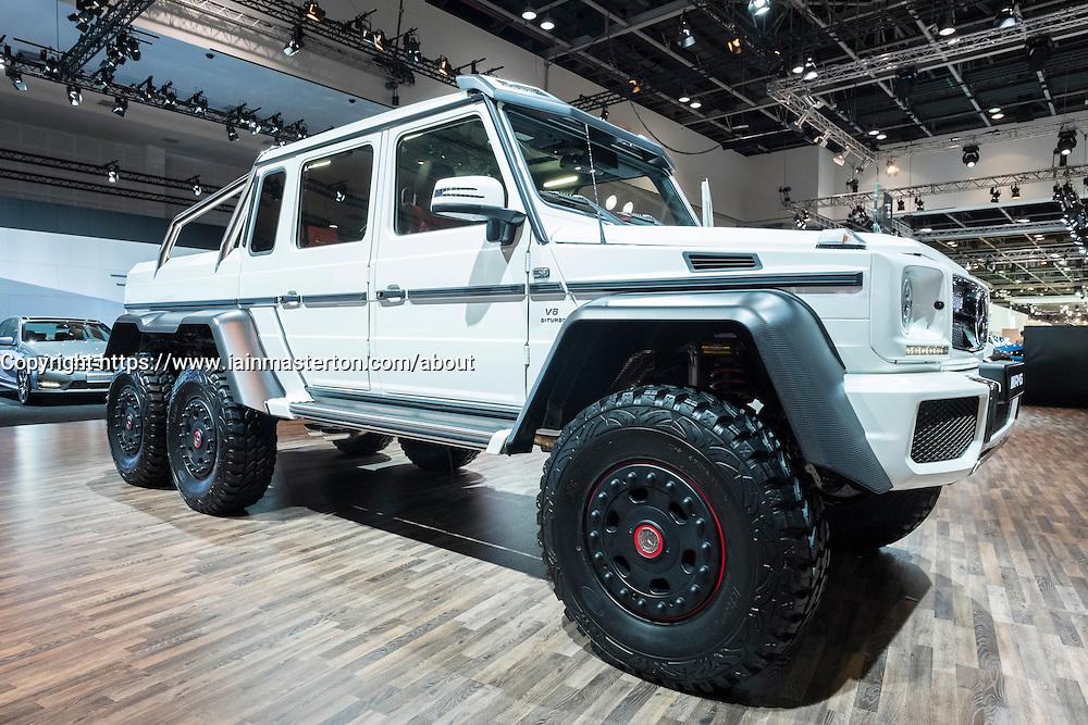 Mercedes G63 AMG 6x6 vehicle at the Dubai Motor Show 2013 United Arab Emirates