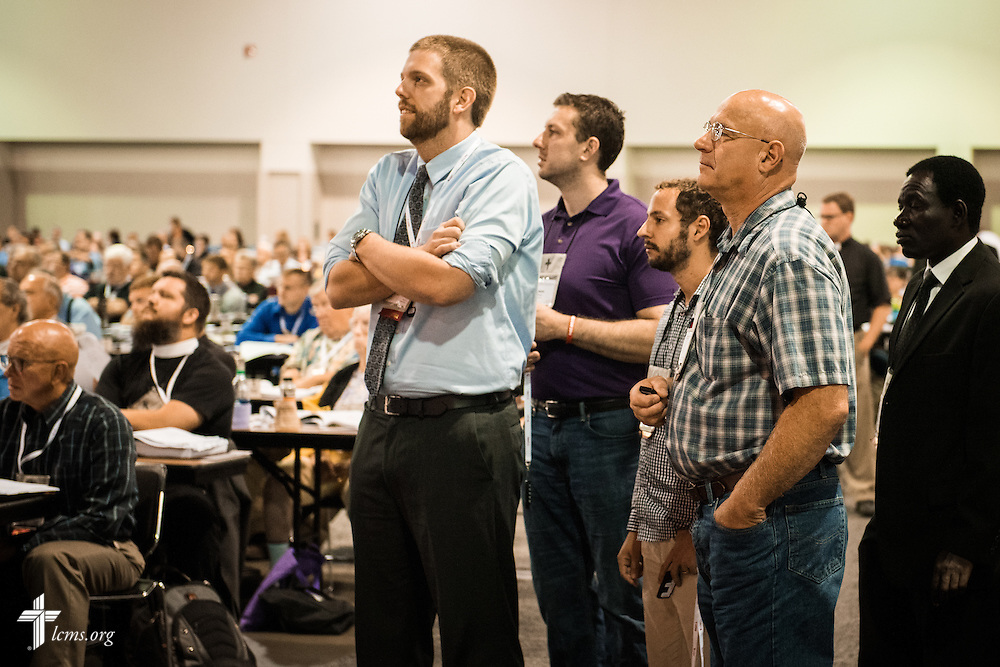 Delegates queue Monday, July 11, 2016, at the 66th Regular Convention of The Lutheran Church–Missouri Synod, in Milwaukee. LCMS/Frank Kohn